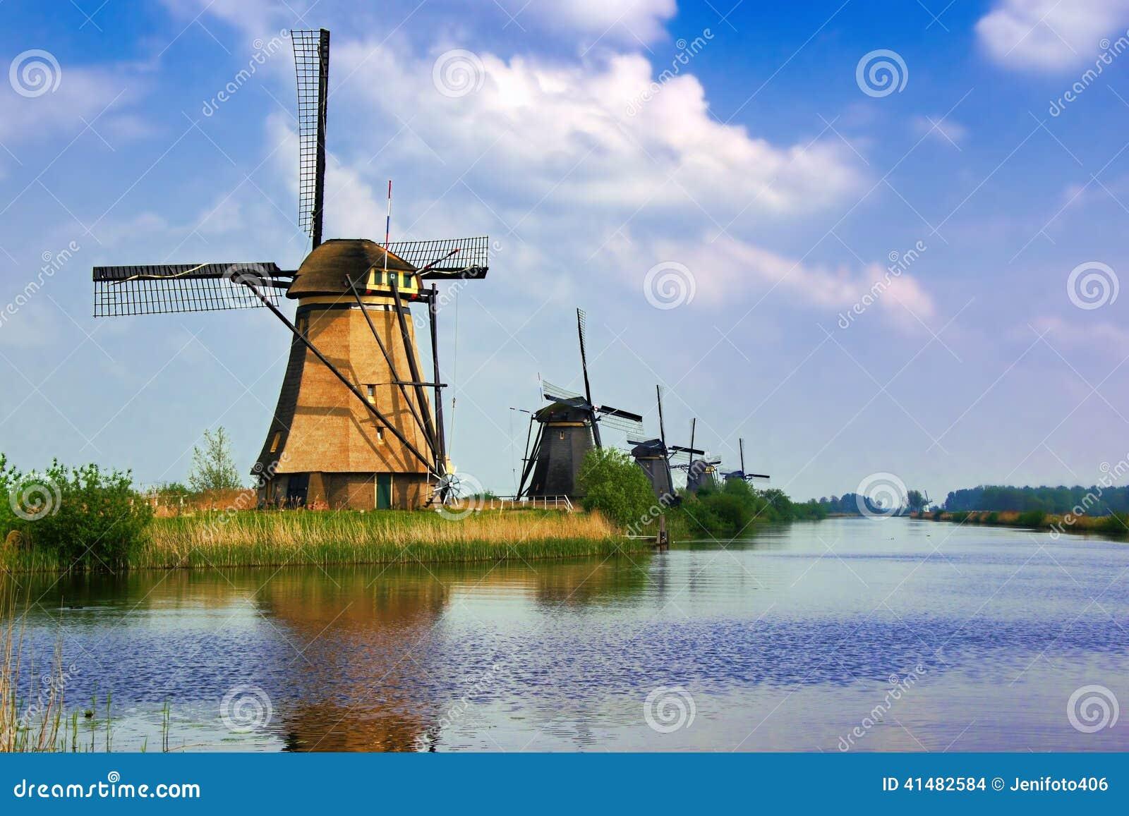 Holländische Windmühlen von Kinderdijk