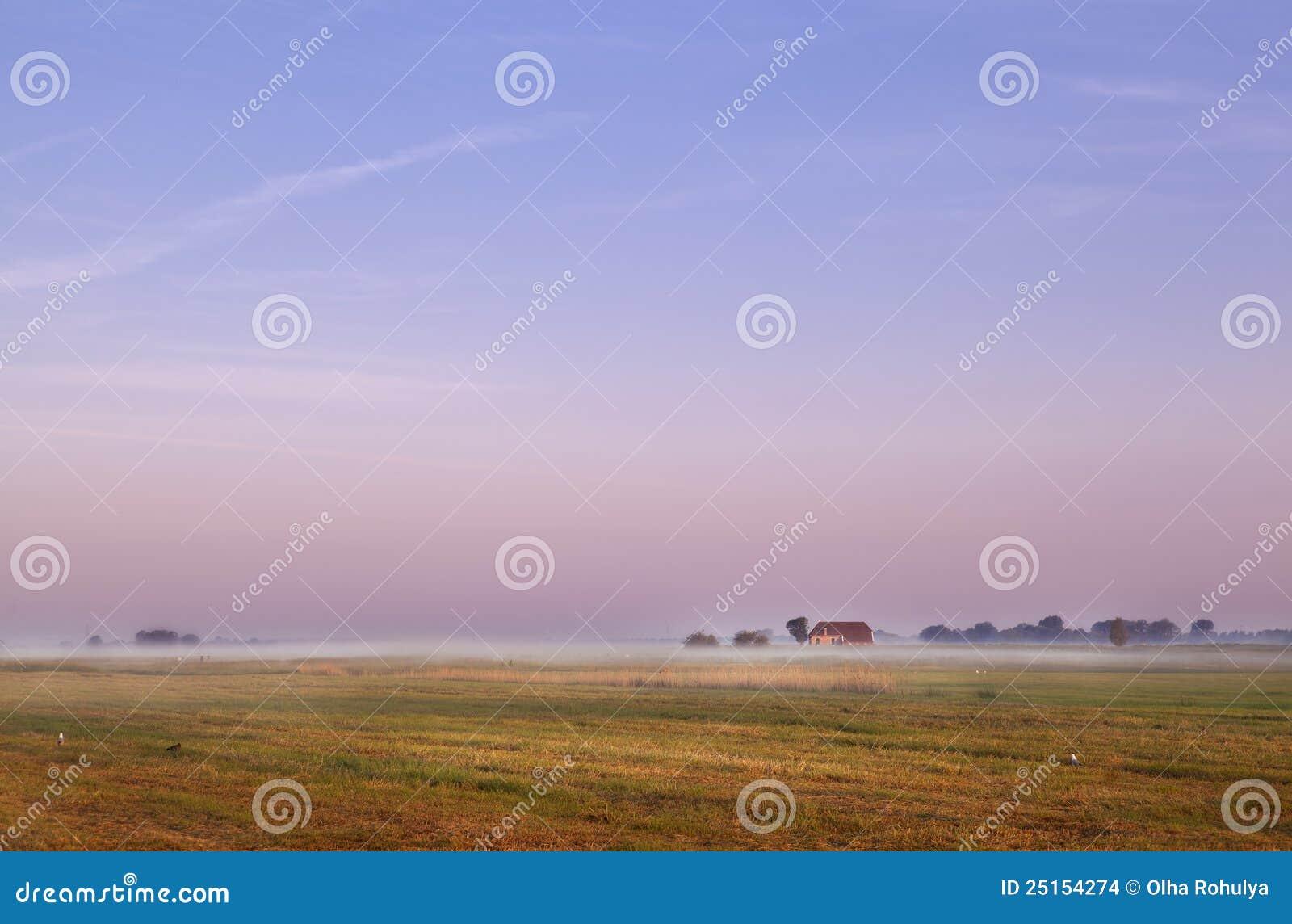 Holländischer Bauernhof am Sonnenaufgang