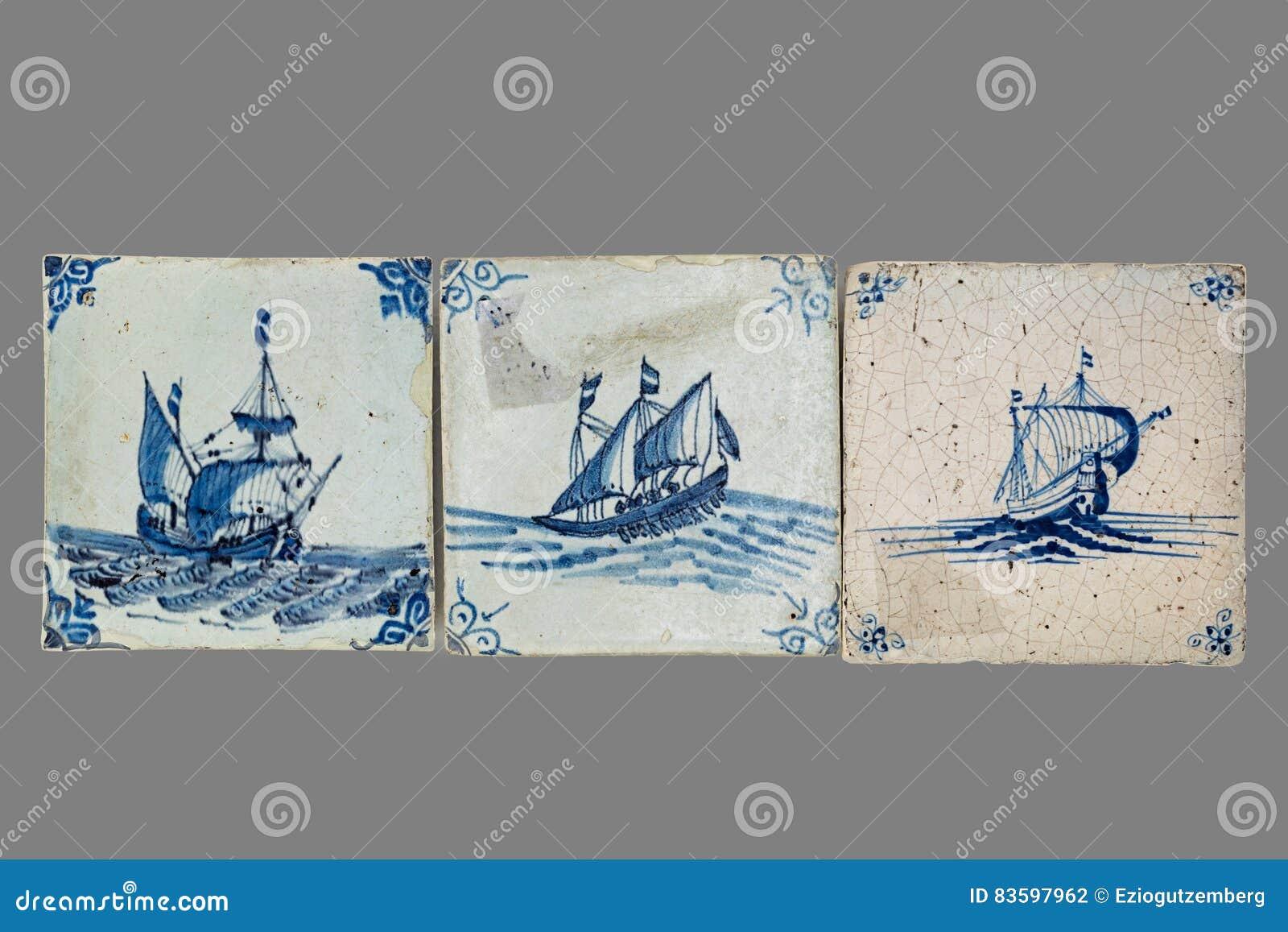 Holländsk tegelplatta från 16th till det 18th århundradet