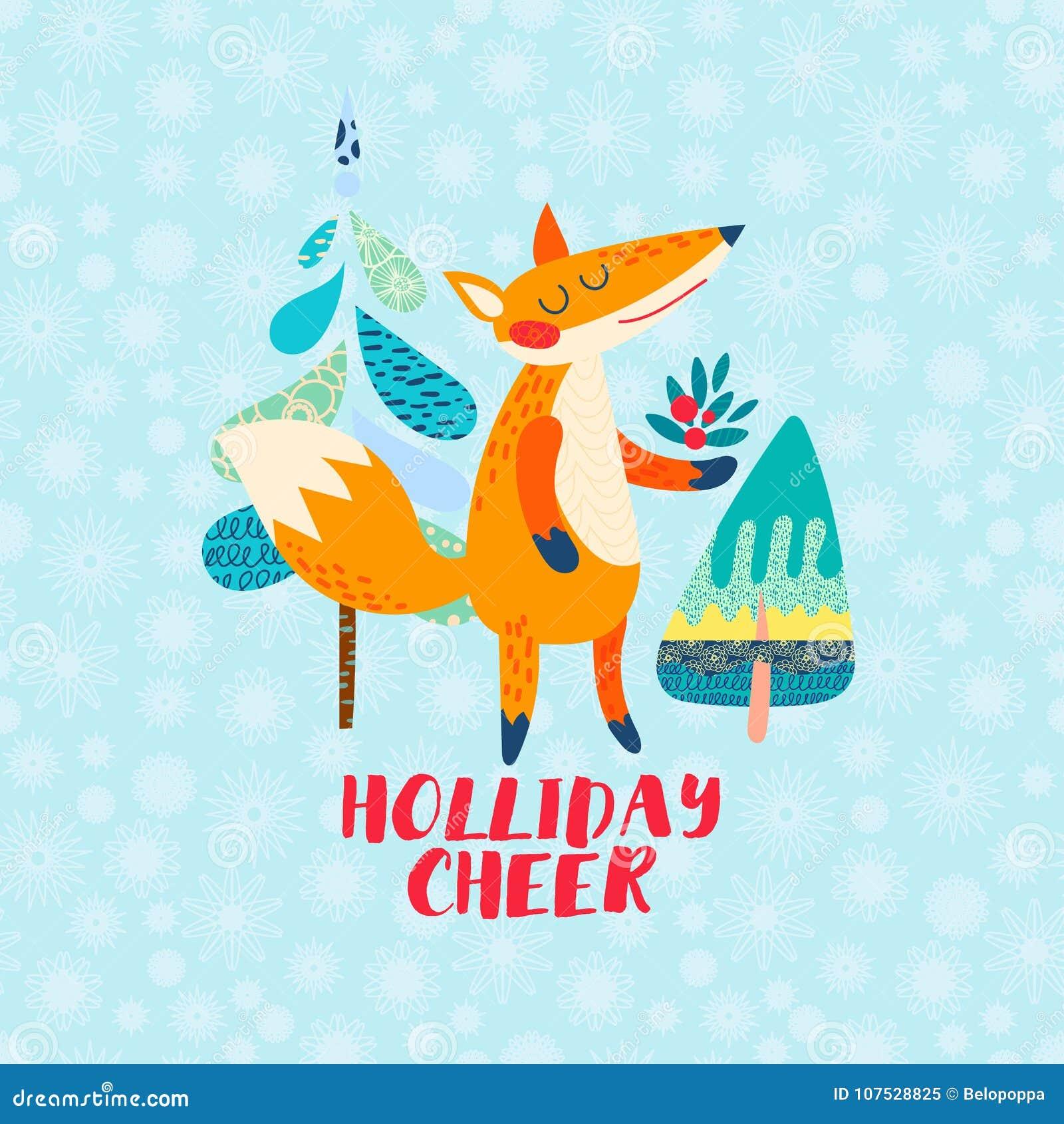 Holliday Cheer Cartoon Red Fox Greeting Card Stock Vector