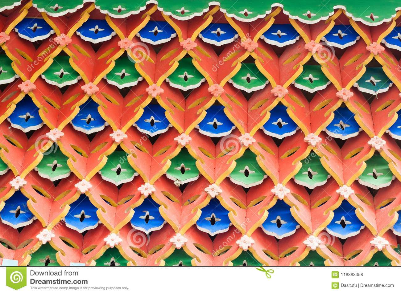 Hollow architecture closeup with geometry rhombus pattern