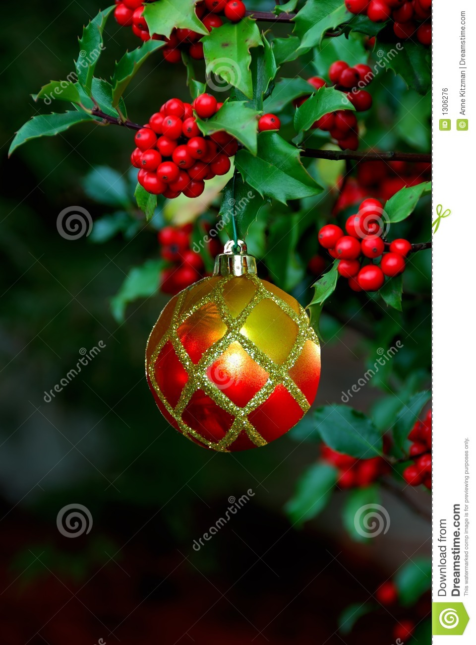 Berries Christmas Holly Ornament
