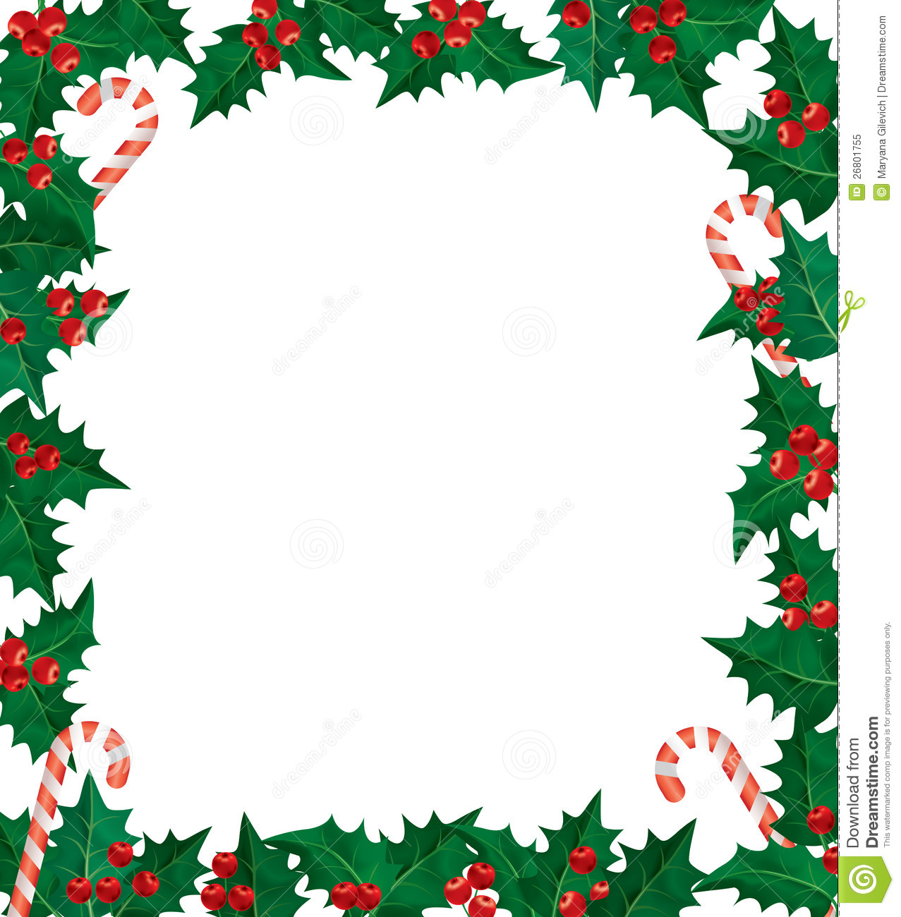 Christmas holly berries frame. Using gradient mesh.Eps 10.