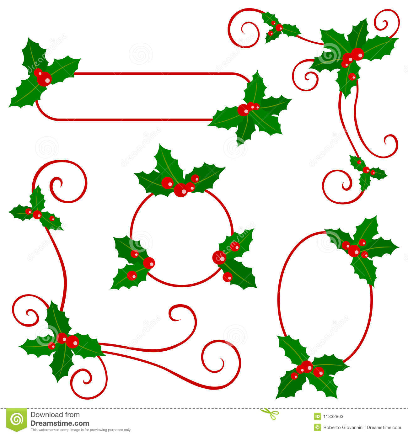 clip art holly leaves black and white - photo #45