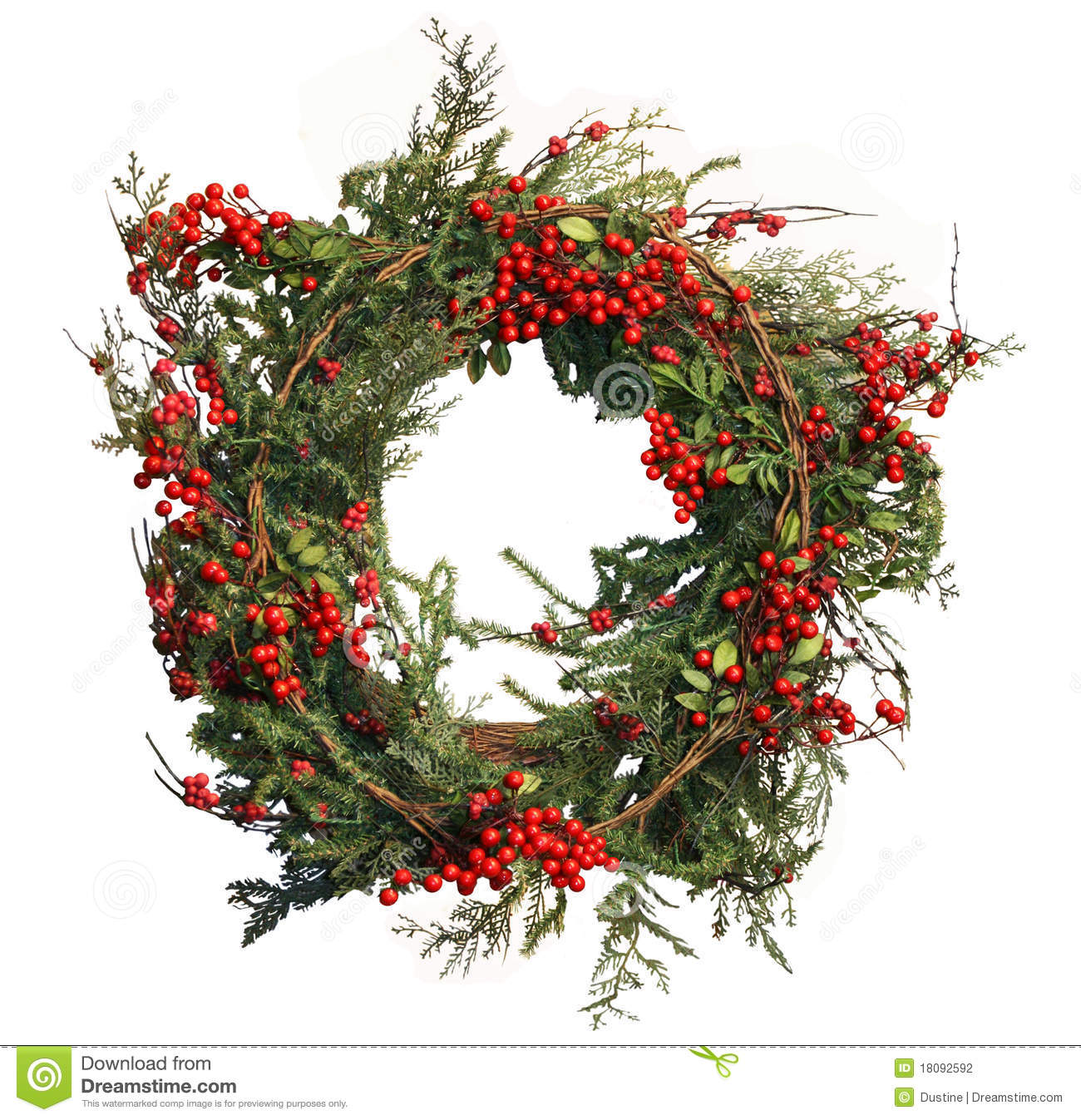 Holly berry and pine christmas wreath stock photo image