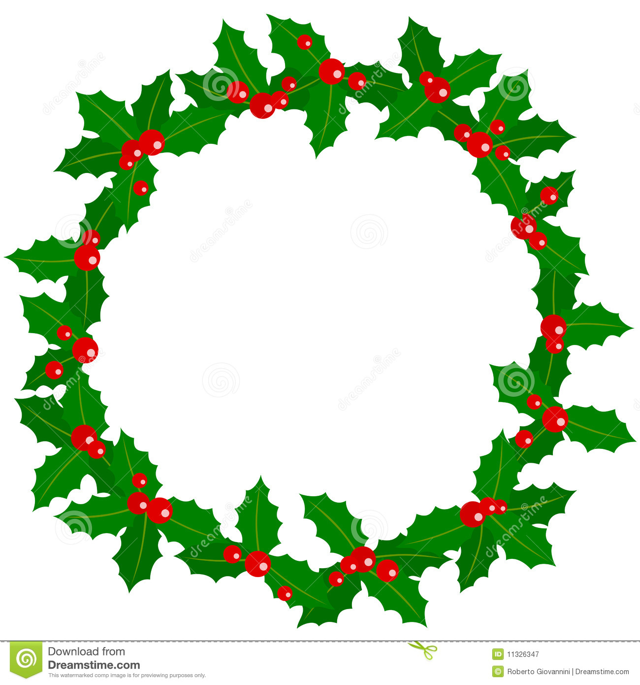 Holly berry wreath stock vector illustration of christmas for Holl image