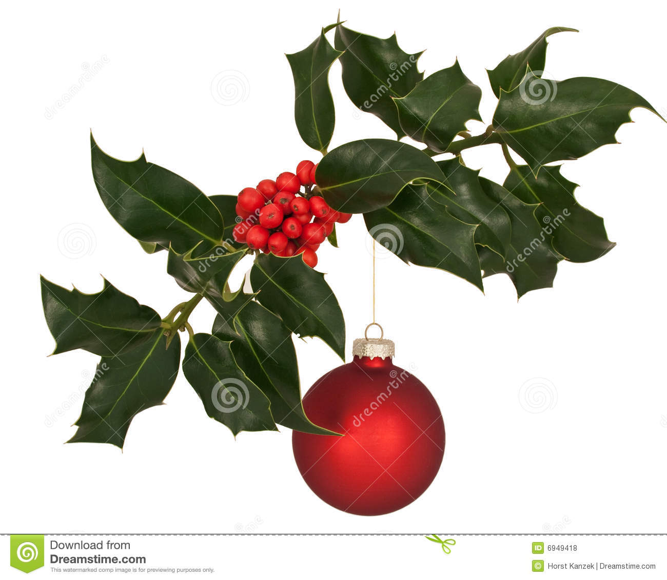 Holly branch with christmas decoration stock photo image for Holl image