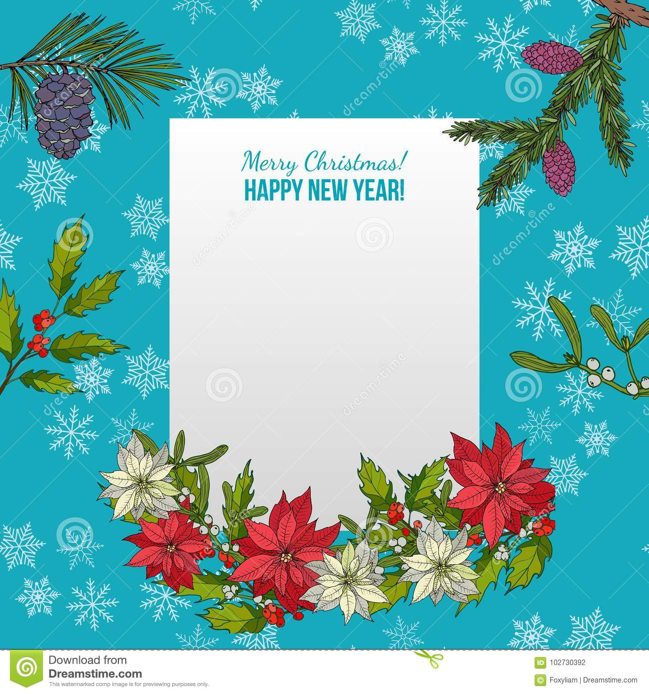Holly, Fir And Poinsettia. Christmas And New Year Greeting Card ...