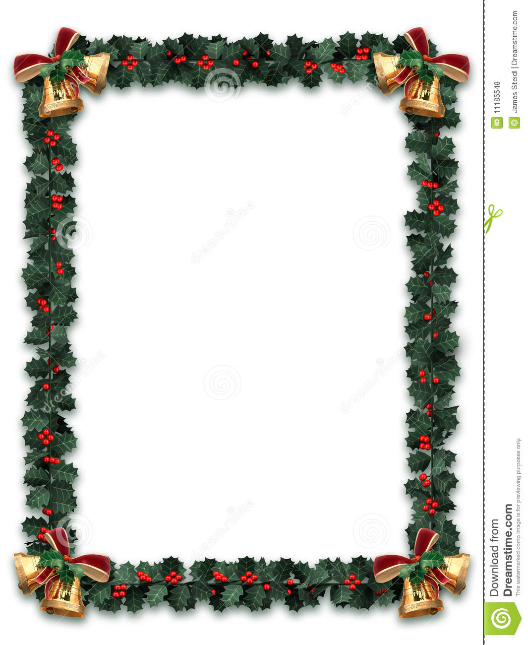 Holly garland border with gold bells on a white background with letter ...