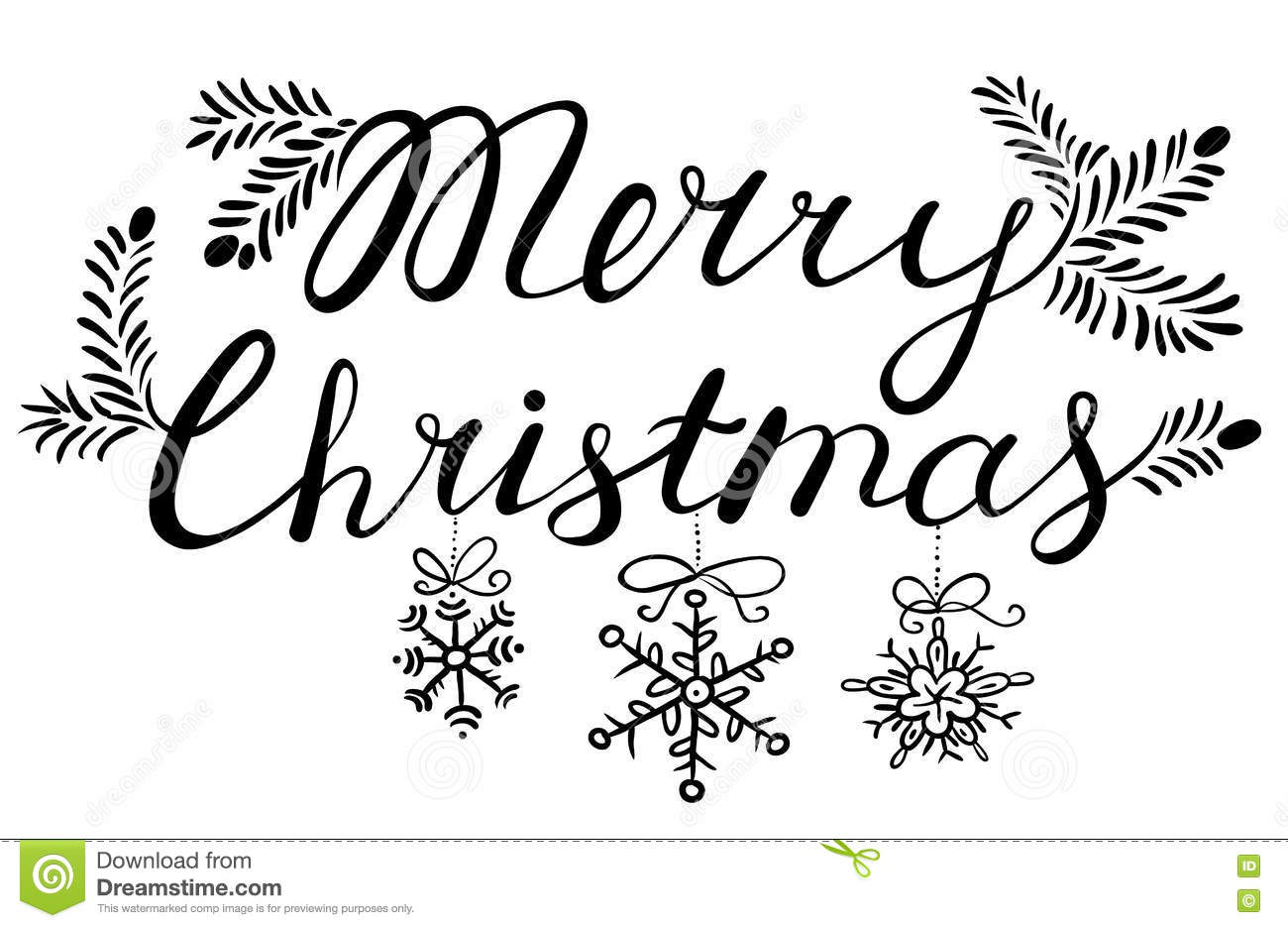 Holly Jolly Christmas Calligraphic Lettering. Stock Vector ...
