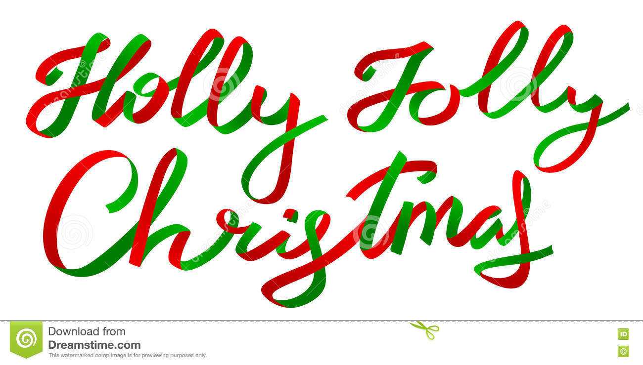 Holly Jolly Christmas.Holly Jolly Christmas Calligraphic Lettering Stock Vector