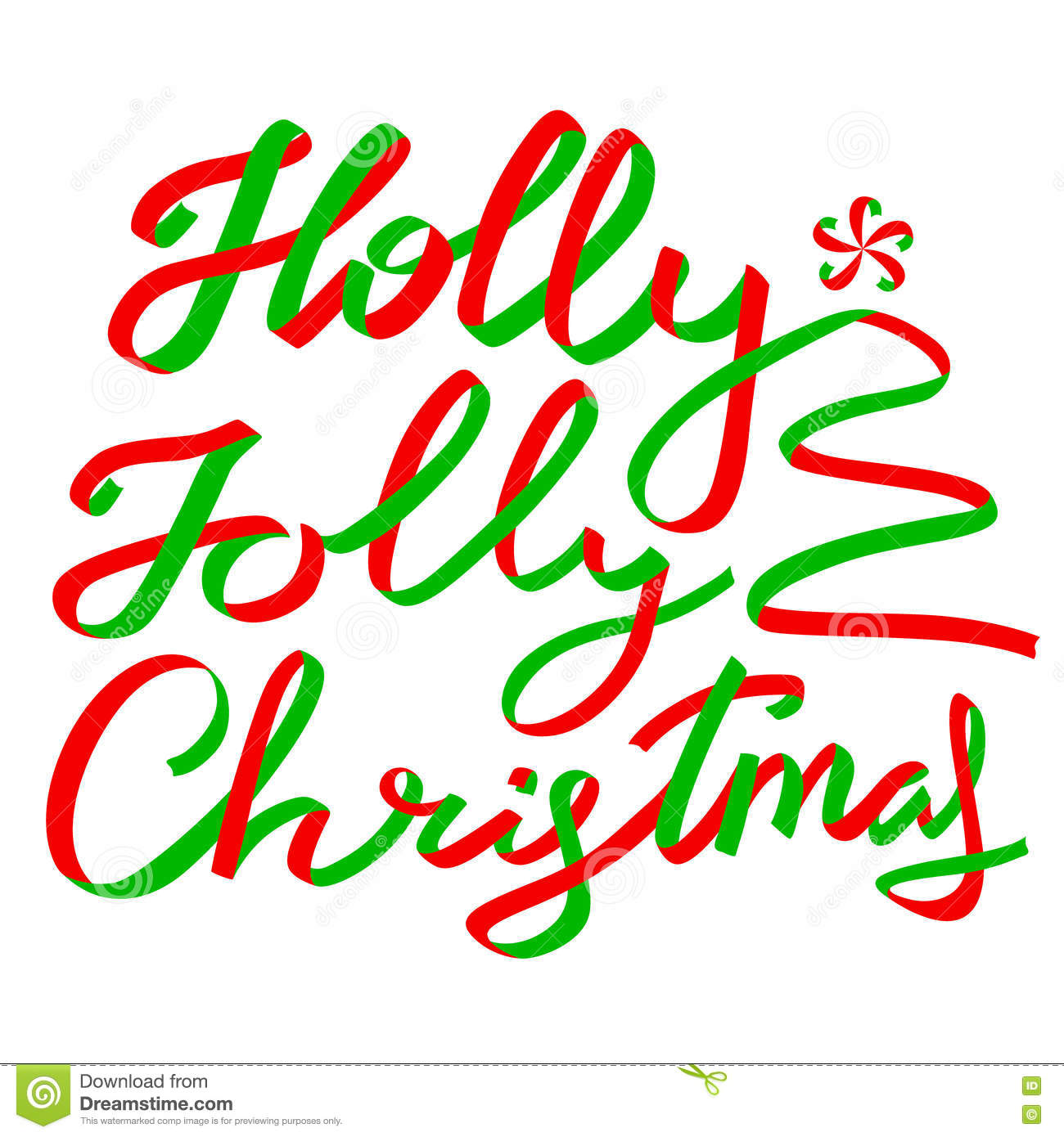 Holly Jolly Christmas Calligraphic Lettering Stock Vector ...