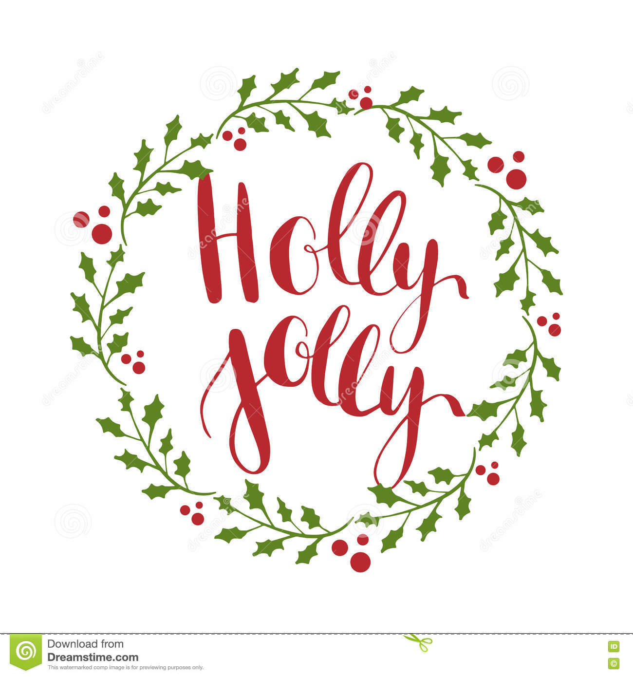 Holly jolly greeting card with hand written calligraphic christmas holly jolly greeting card with hand written calligraphic christmas wishes phrase kristyandbryce Choice Image