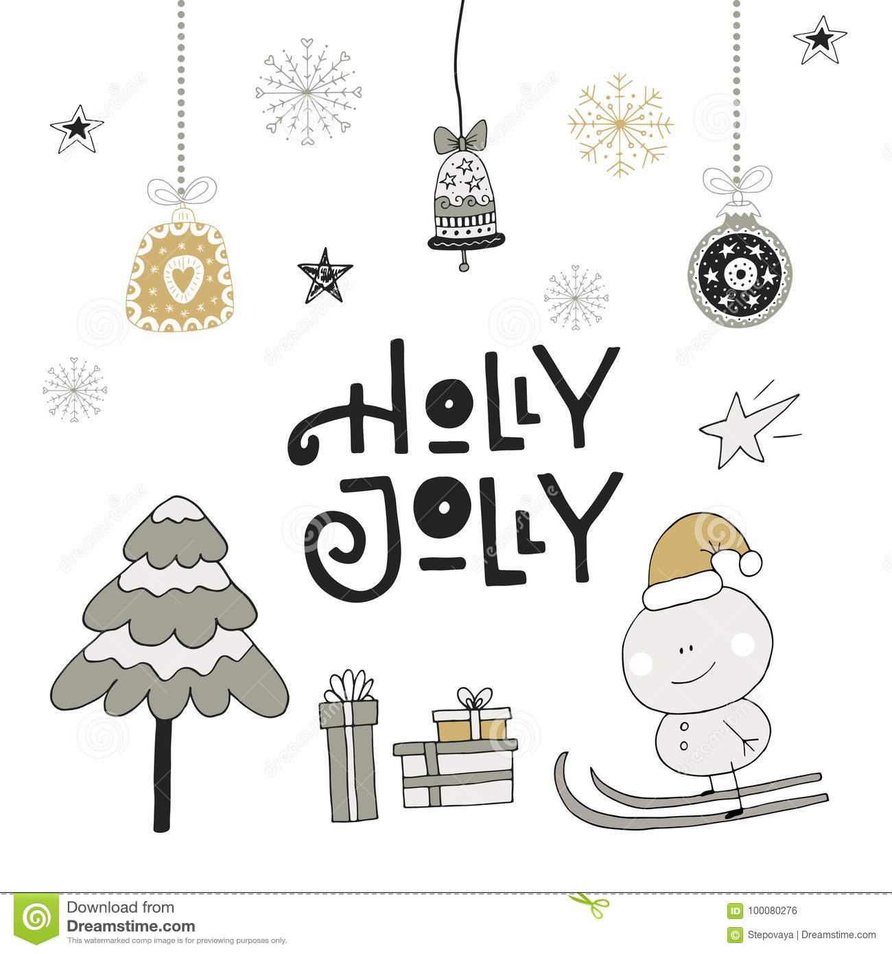 holly jolly hand drawn christmas lettering with decoration cute new year clip art