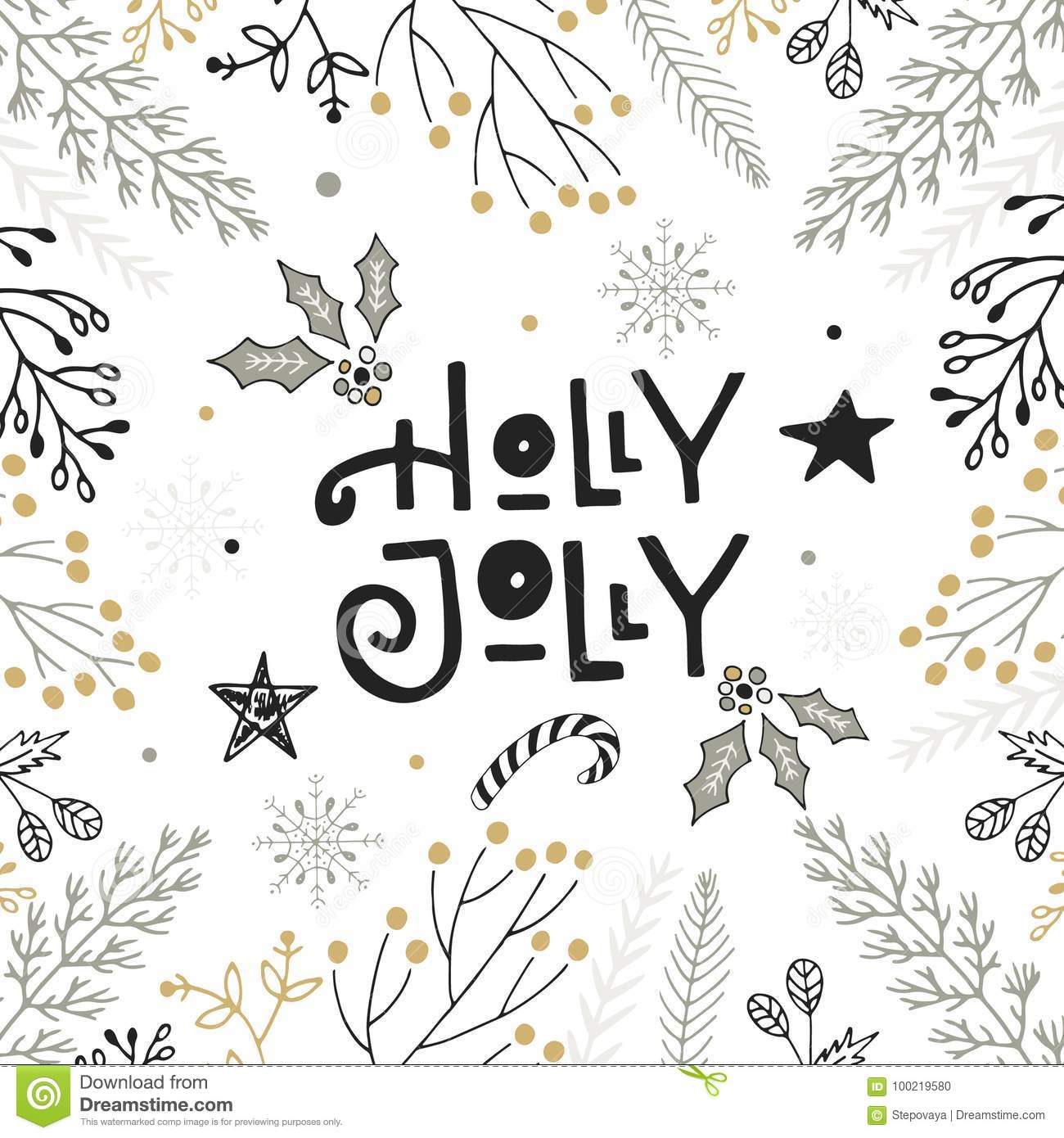 holly jolly hand drawn christmas lettering with floral and decorations cute new year clip