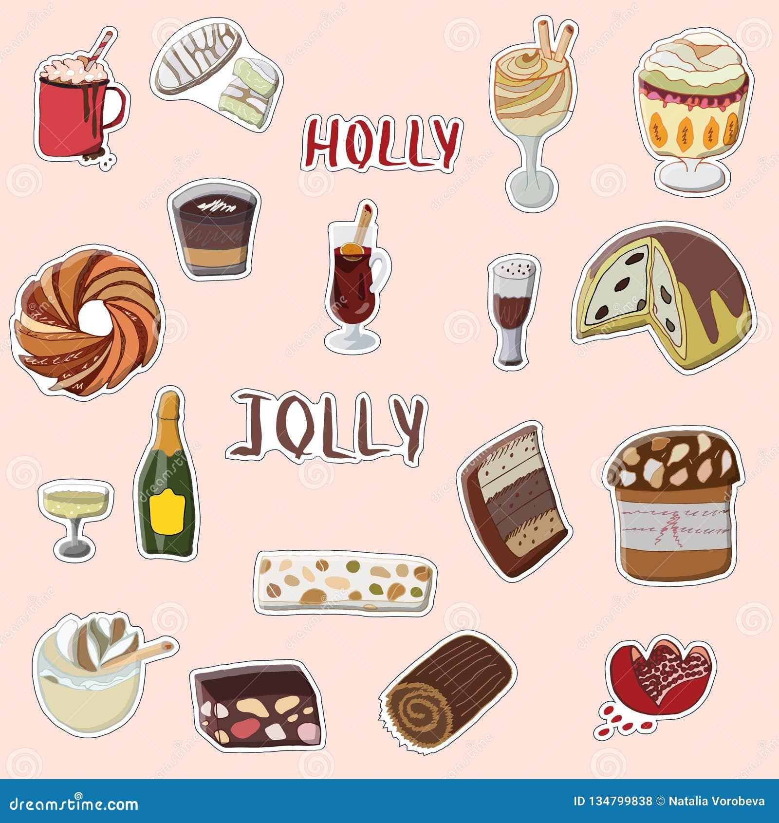 Holly Jolly-Handgezogener Satz festliche Aufkleber