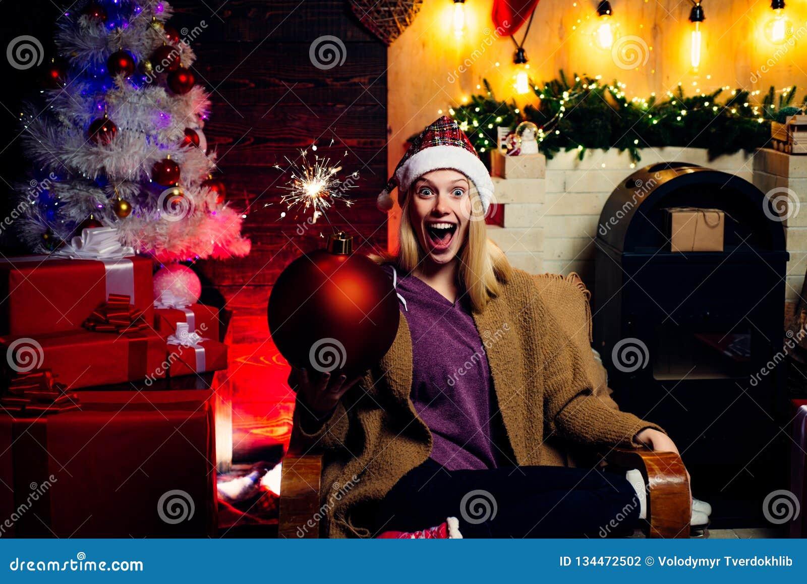 6cf15d20969a Holly jolly swag Christmas and noel. Santa woman in elegant dress. Friendly  and joy