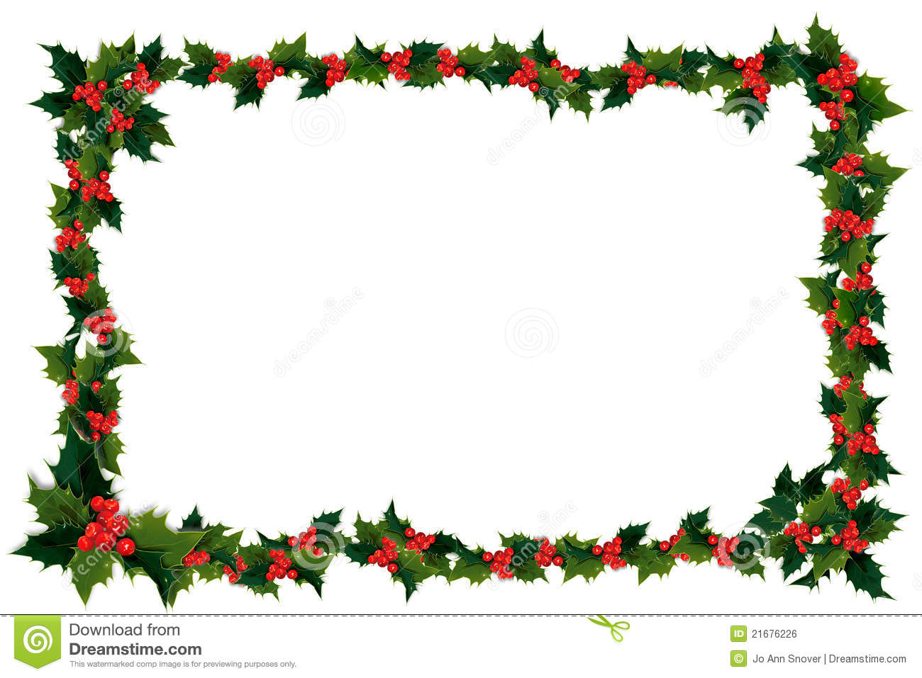 Holly Leaf And Berry Frame Royalty Free Stock Image - Image: 21676226