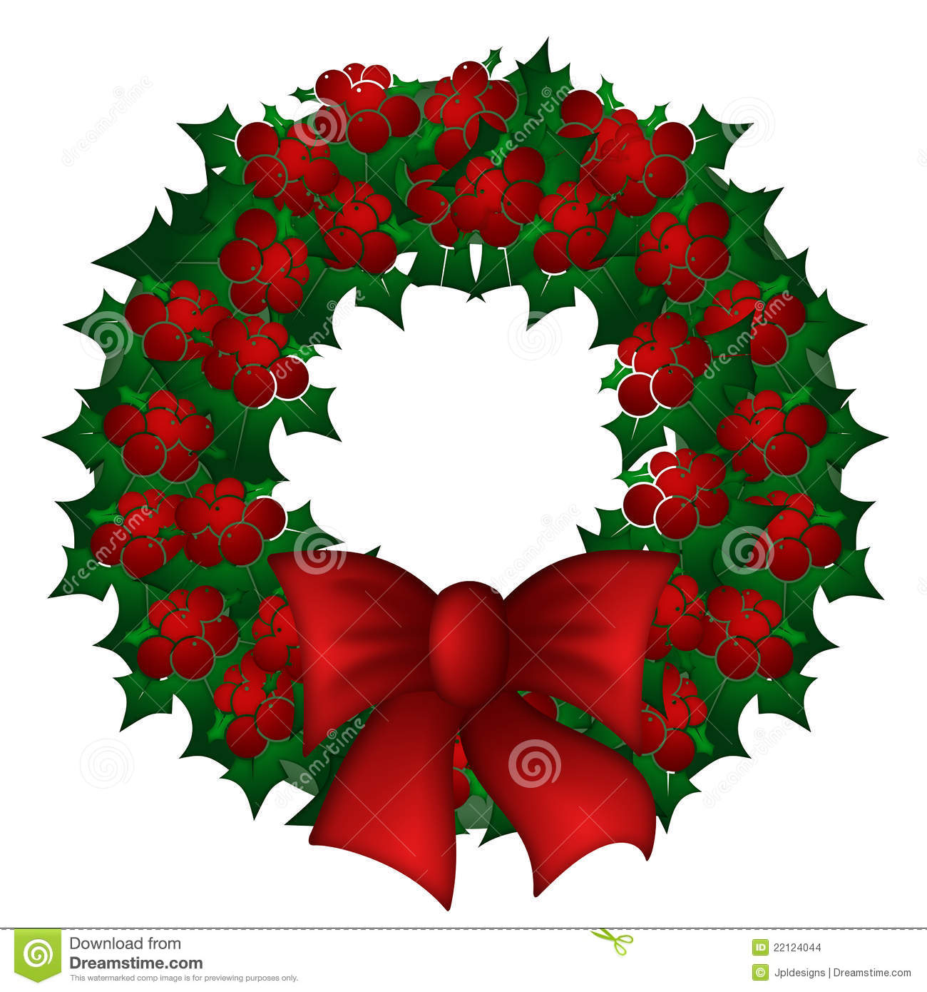 Holly Leaves And Berries Christmas Wreath Stock Images