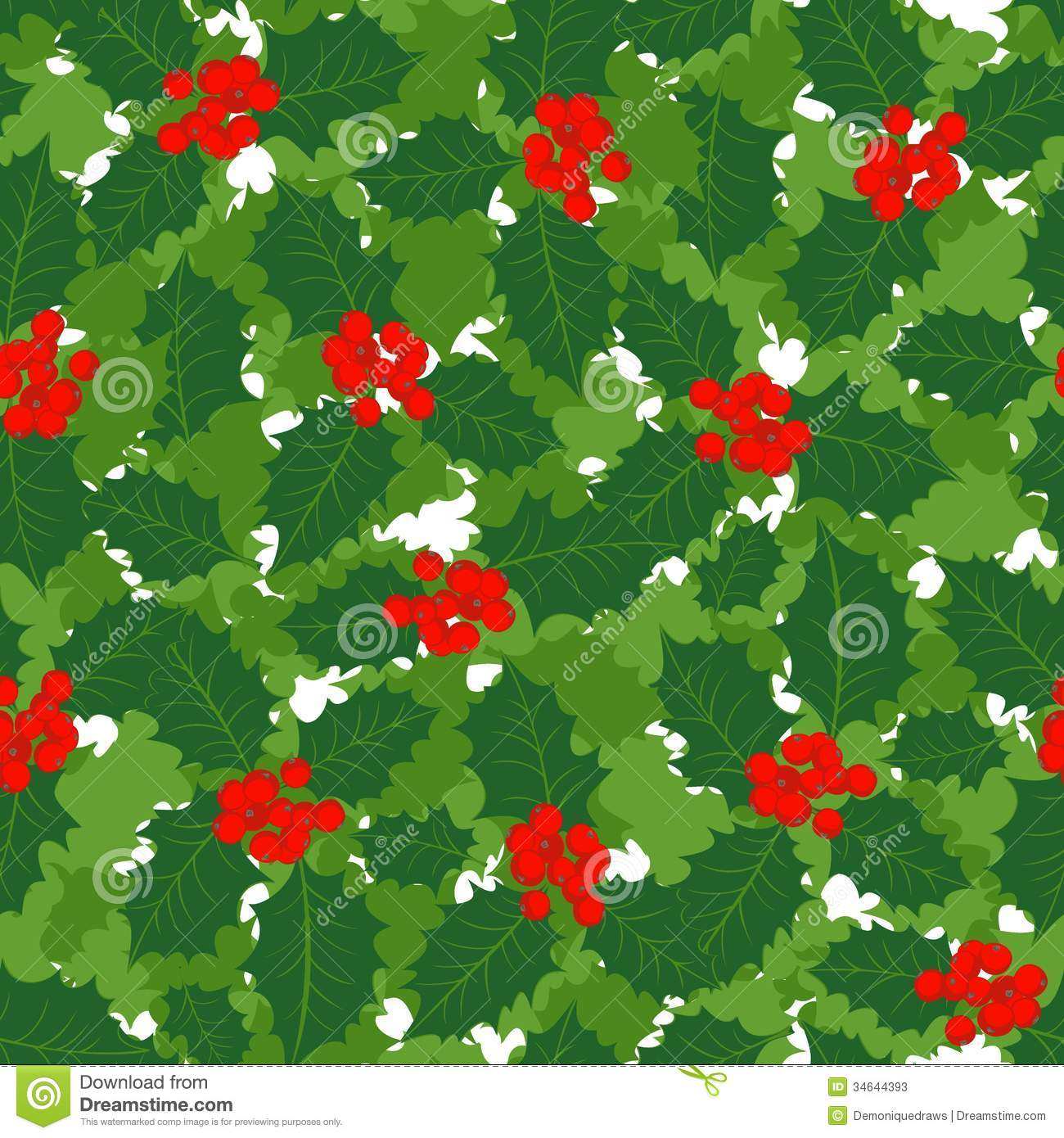 Holly Leaves And Berries Holiday Seamless Pattern Stock Photos ...
