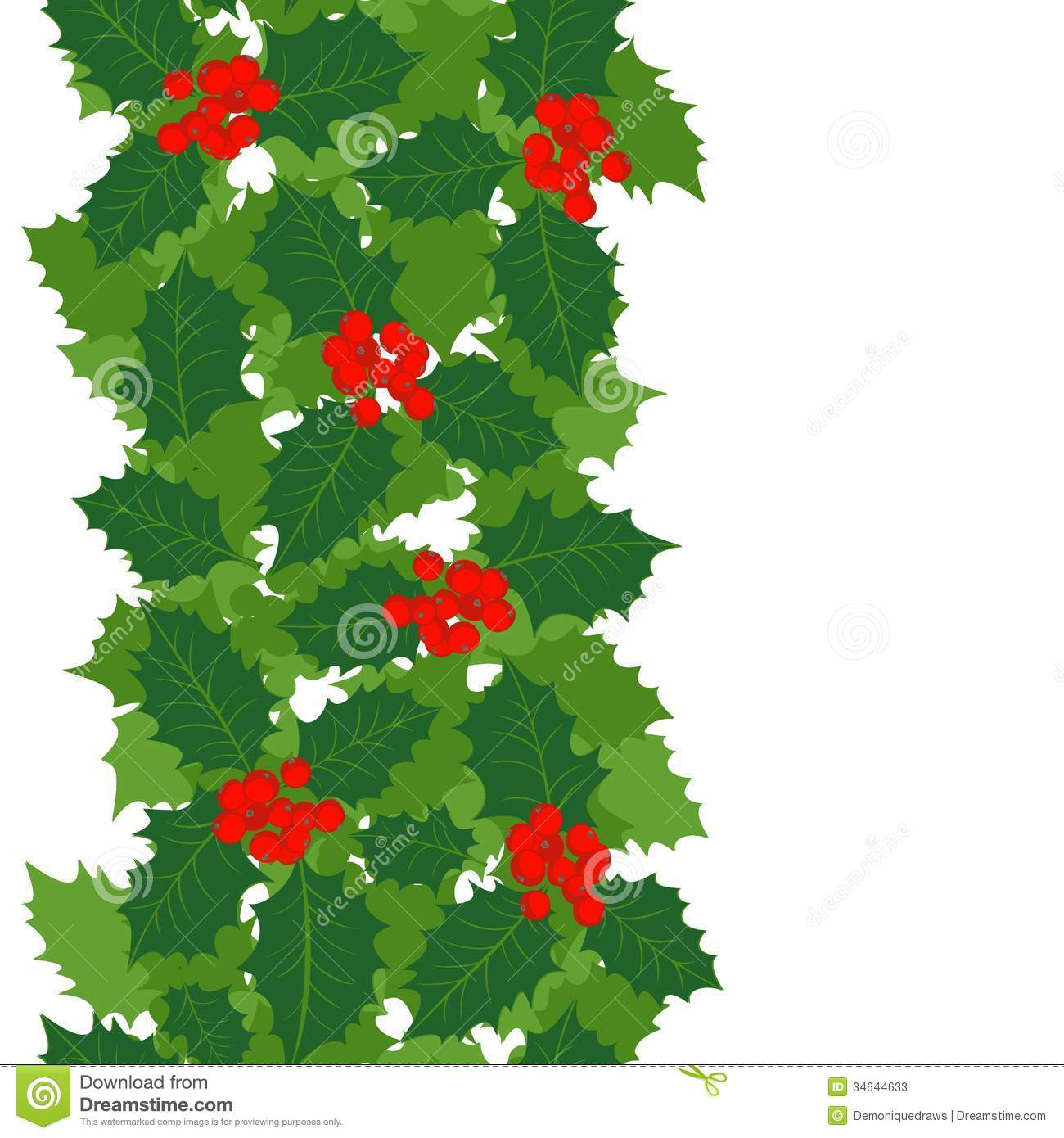 Holly Leaves And Berries Vertical Border