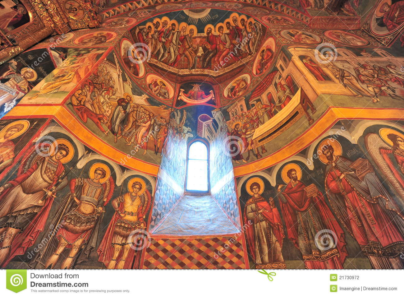Holly Light Revealing Interior Icons Of The Church Stock