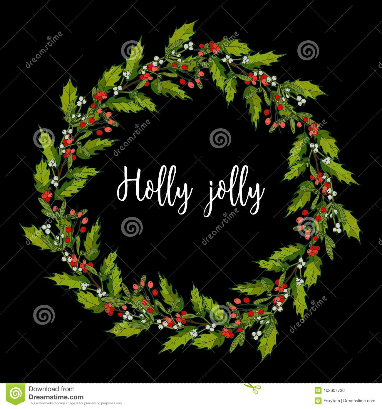 Holly And Mistletoe Wreath Christmas And New Year Greeting Card
