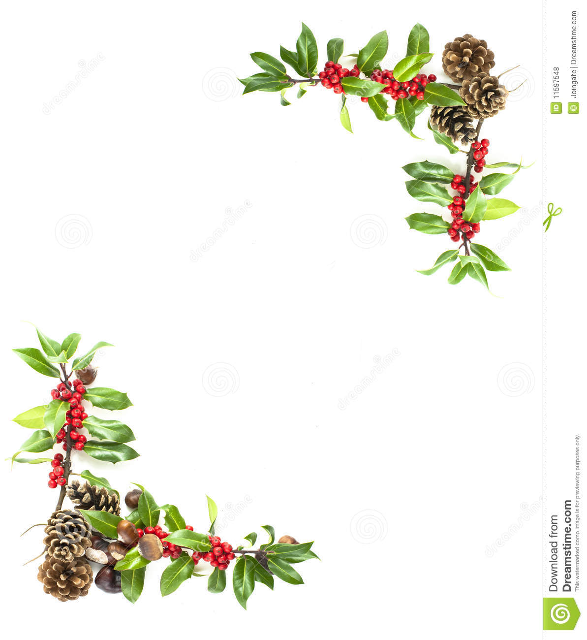 Holly And Red Berries Border Royalty Free Stock Photos - Image ...