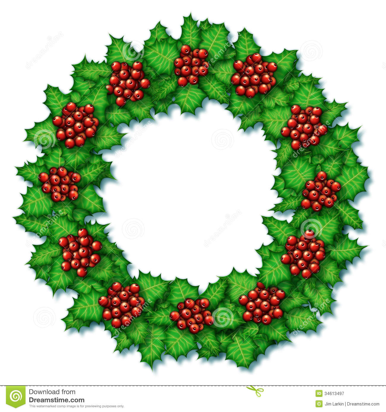Holly Wreath Royalty Free Stock Photography - Image: 34613497