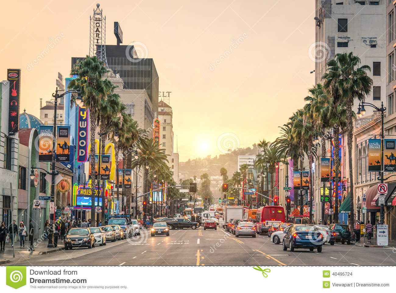 LOS ANGELES - DECEMBER 18, 2013: View of Hollywood Boulevard at sunset ...