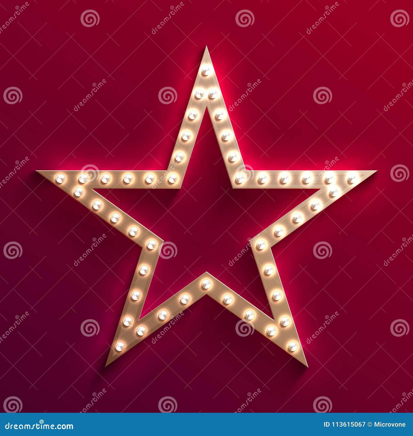 Hollywood filmstjärna med stort festtält för ljus kula Retro guld- filmram Ljust vektortecken för kasino