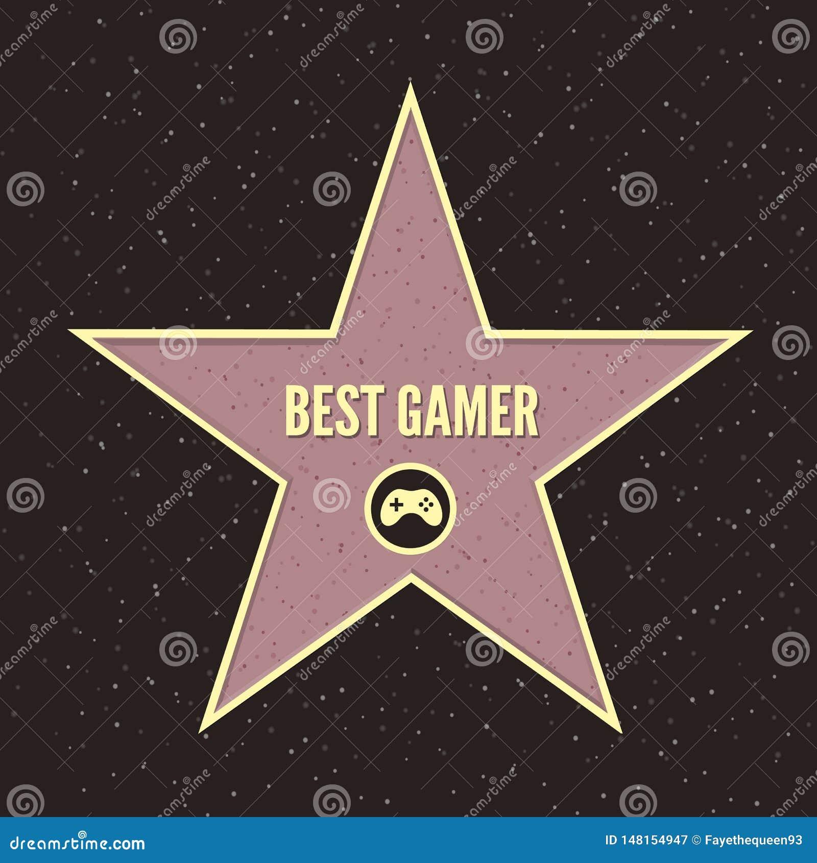 Hollywood g?r av ber?mmelsedesign Illustration av den berömda bästa gameren för trottoar