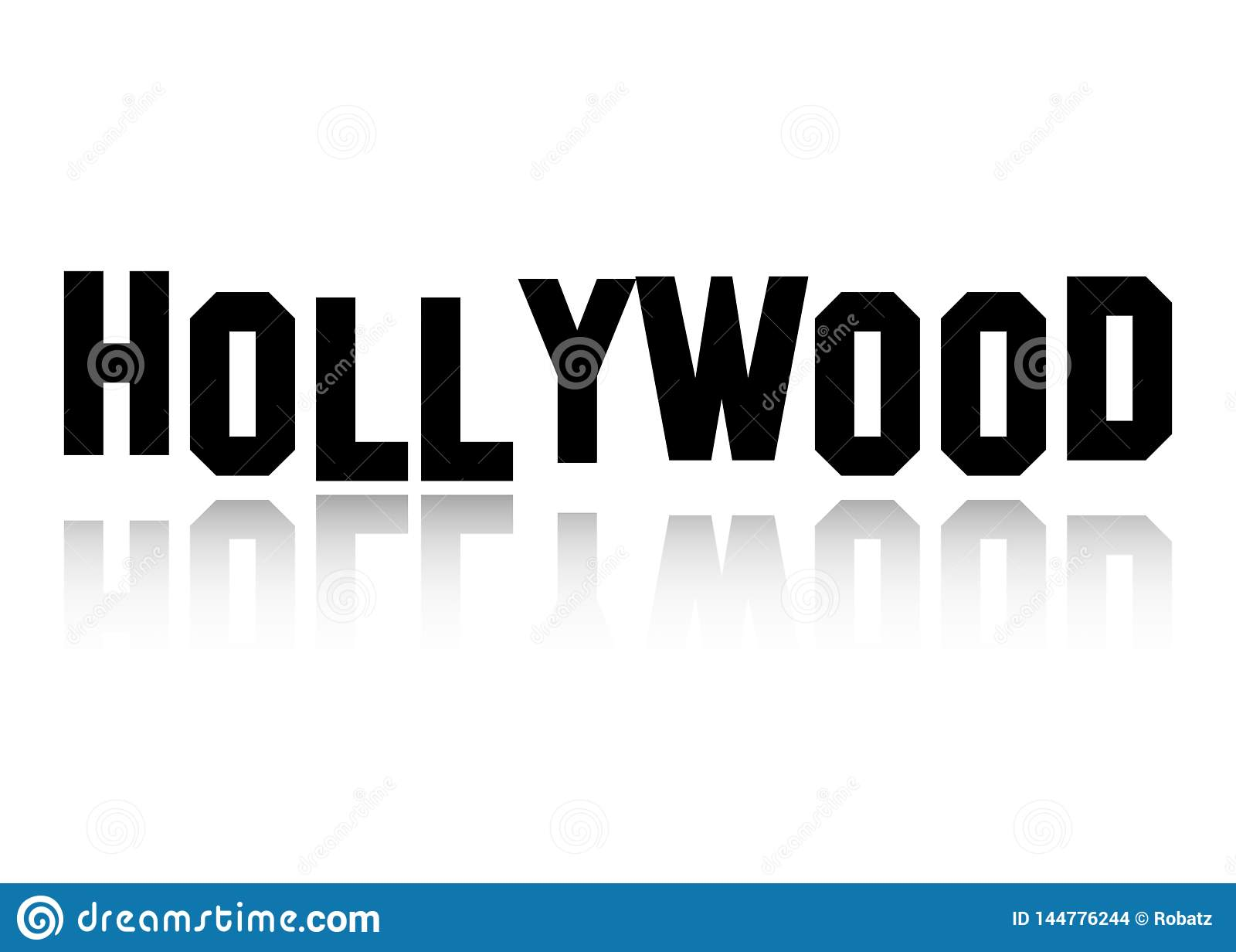 Hollywood vector logo , black letters isolated or white background