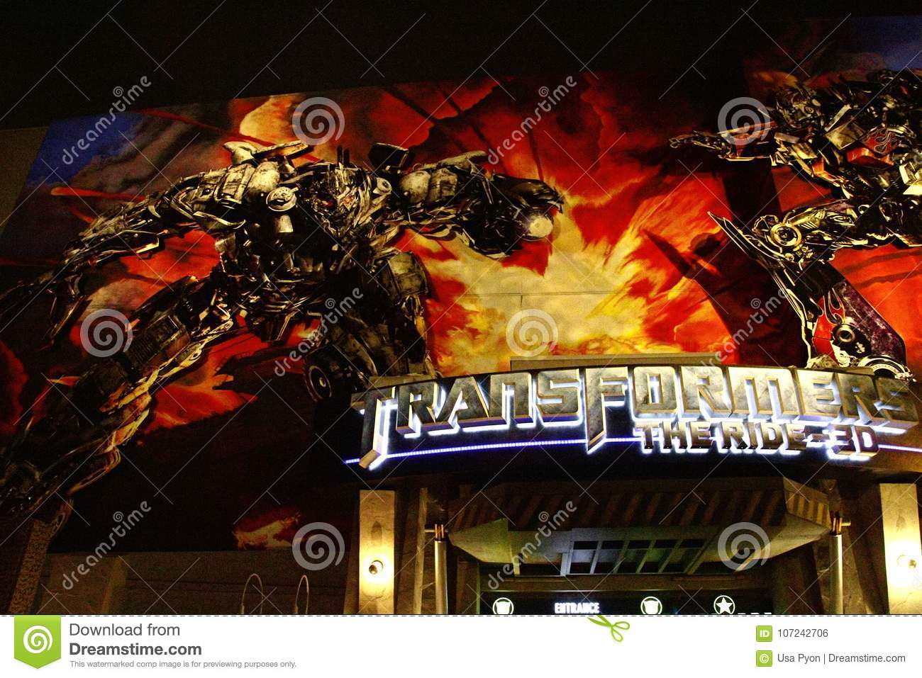 Entrance Of Transformers The Ride 3D Editorial Photo - Image