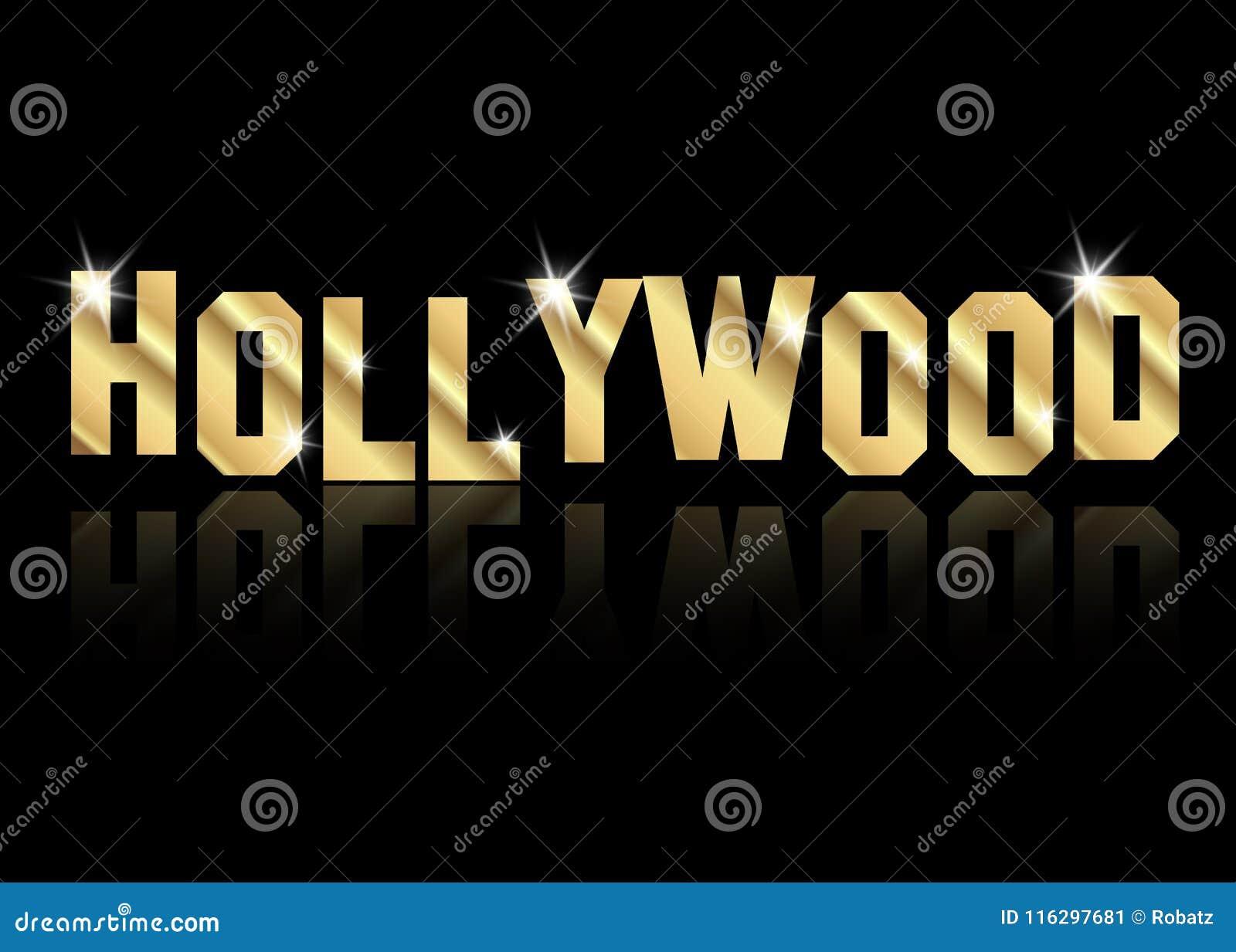 Hollywood märker den guld- vektorlogoen, guld isolerad eller svart bakgrund