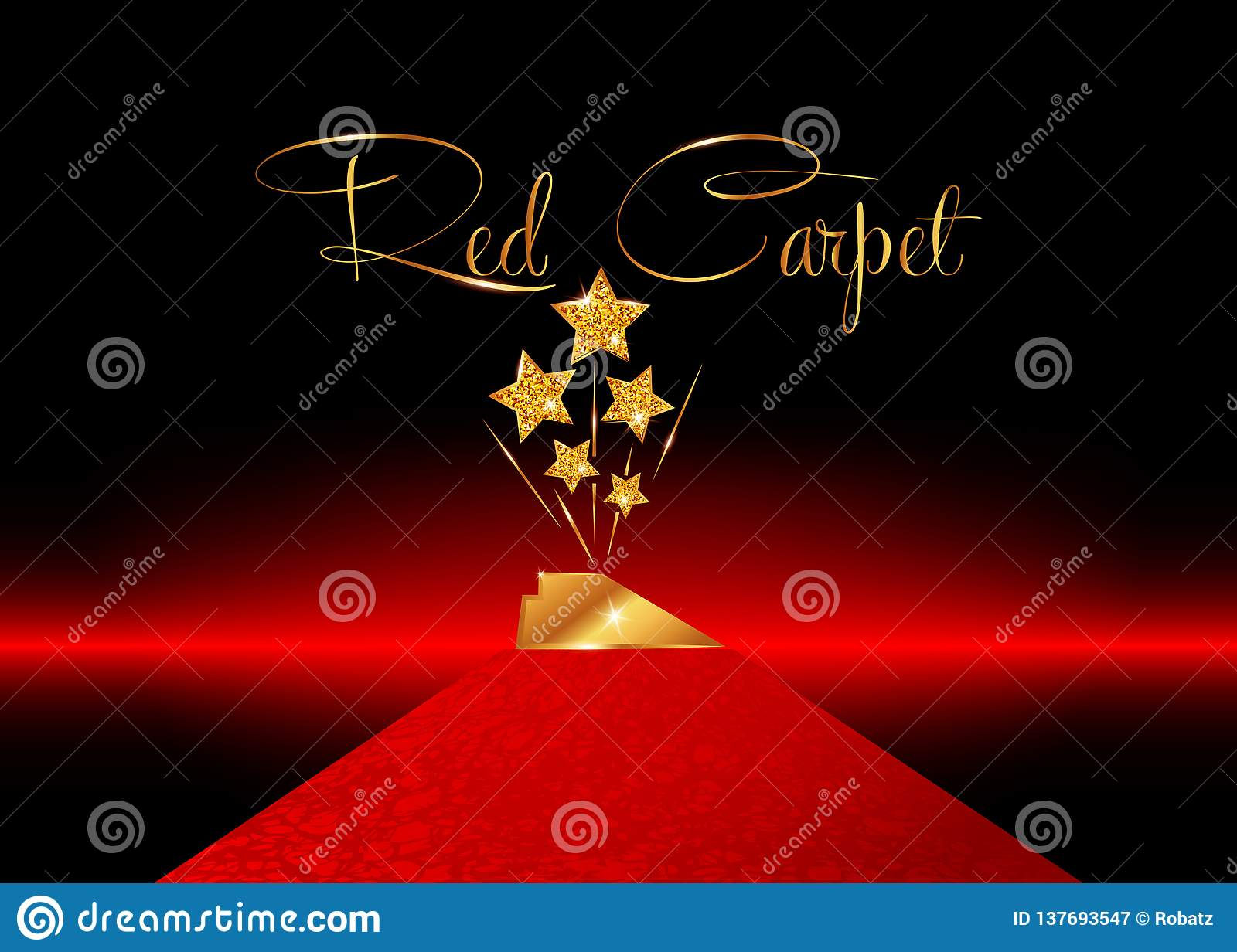 HOLLYWOOD Movie PARTY Gold STAR AWARD Statue Prize Giving Ceremony Red Carpet and Golden stars prize concept, Glittering style