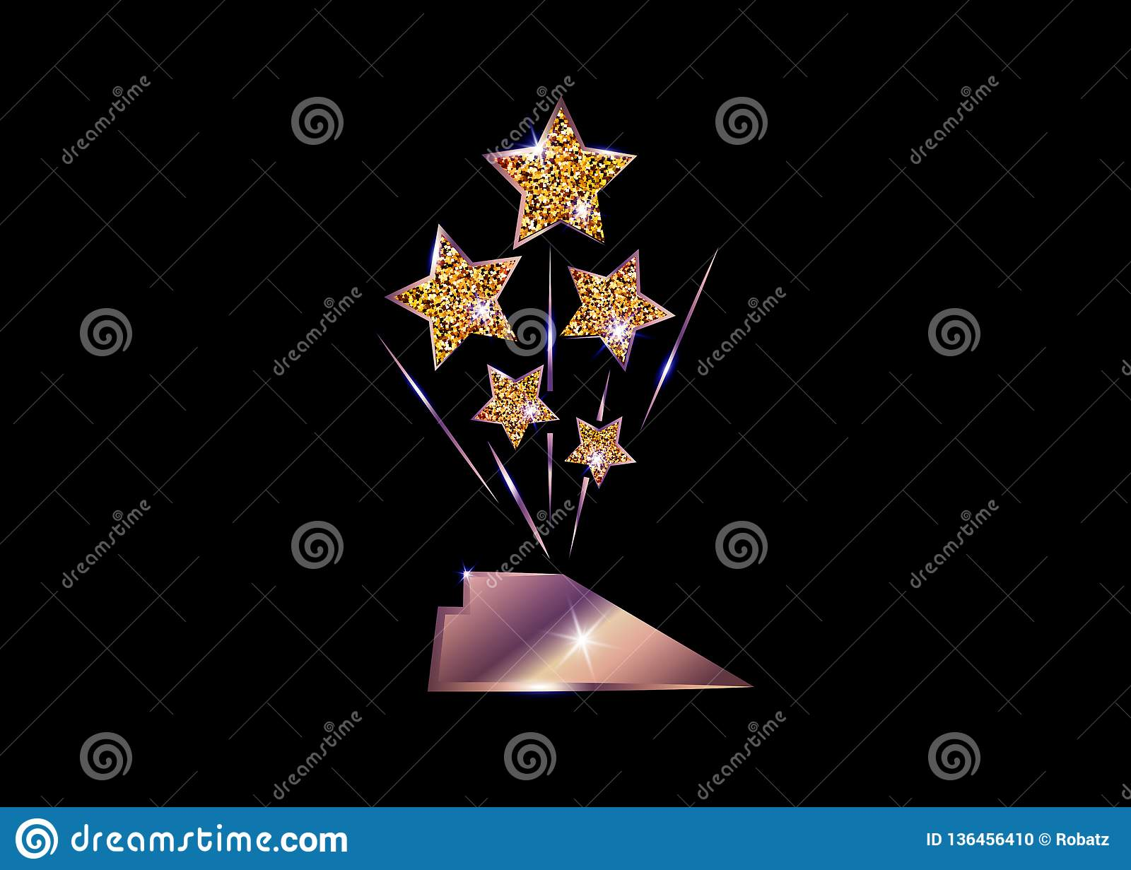 HOLLYWOOD Oscars Movie PARTY Gold STAR AWARD Statue Prize Giving Ceremony. Golden stars prize icon concept, Silhouette statue icon