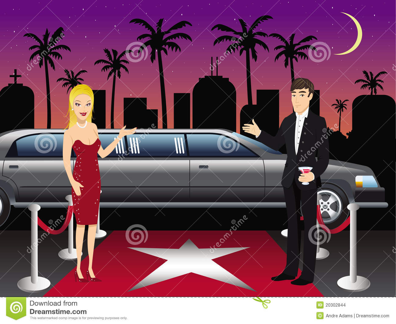 Hollywood red carpet hosts stock vector  Illustration of vector