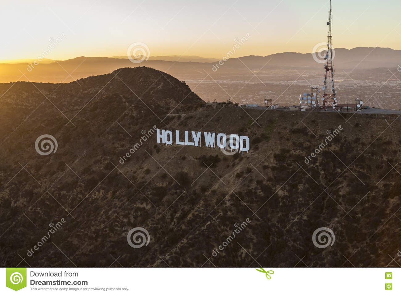 Hollywood Sign Summer Sunset Aerial