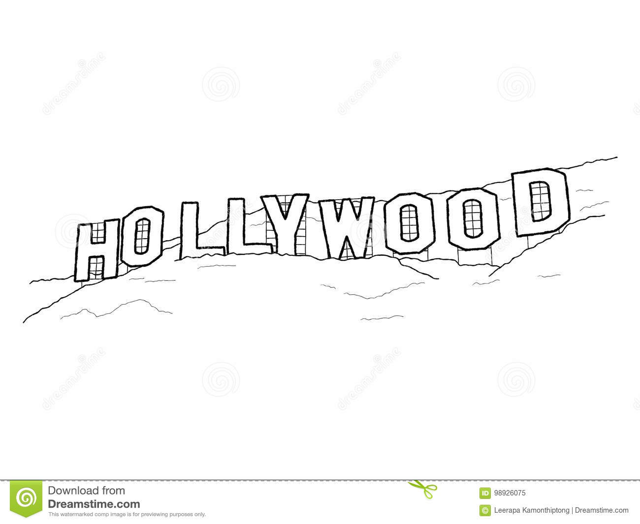 Hollywood Sign Stock Vector Illustration Of California