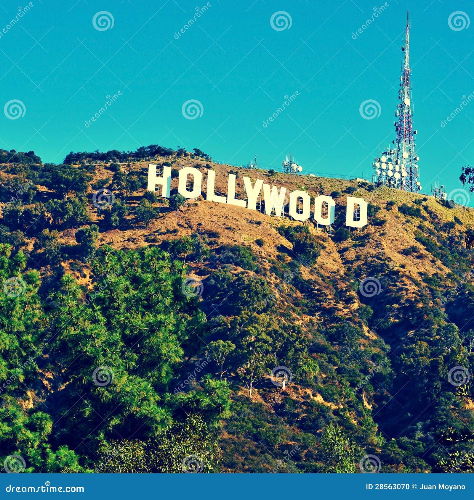 Hollywood undertecknar i monteringen Lee, Los Angeles, United States