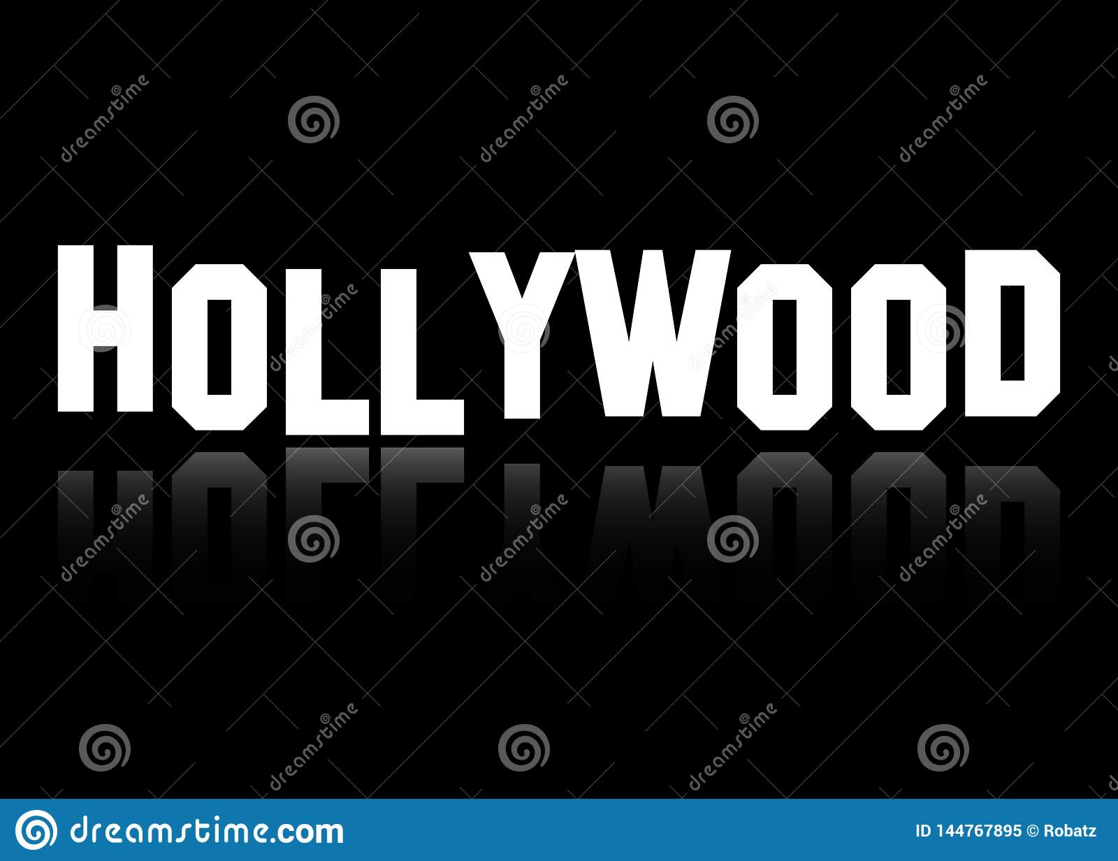 Hollywood vector logo , white letters isolated or black background