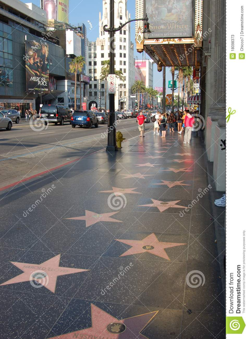 hollywood view of the walk of fame editorial stock photo