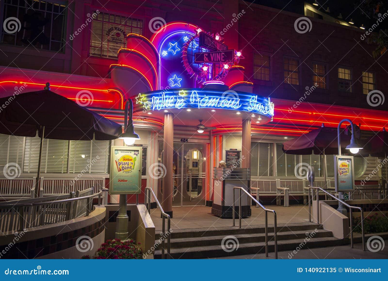 Hollywood Vine Restaurant Disney World Travel Editorial