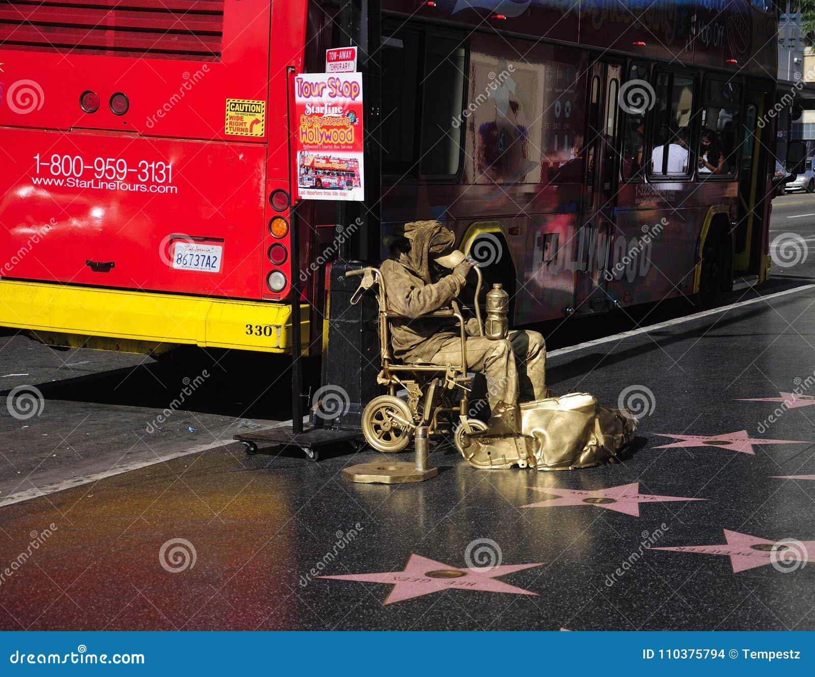 Hollywood Walk of Fame Gold Man Los Angeles