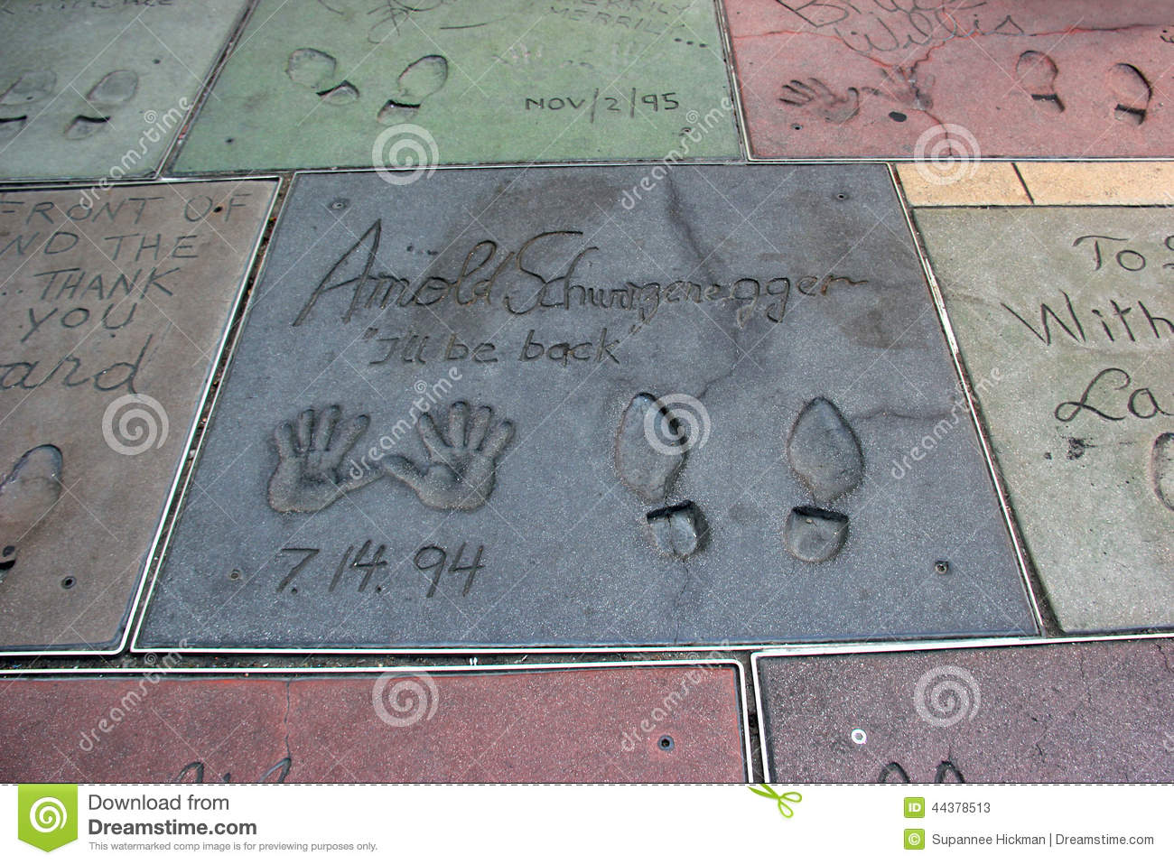 Hand and Foot Prints of Movie Stars on the Hollywood Walk of Fame on ...