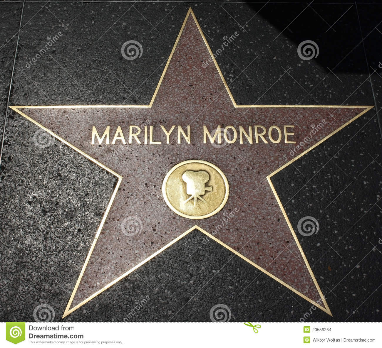 hollywood walk of fame   marilyn monroe editorial stock