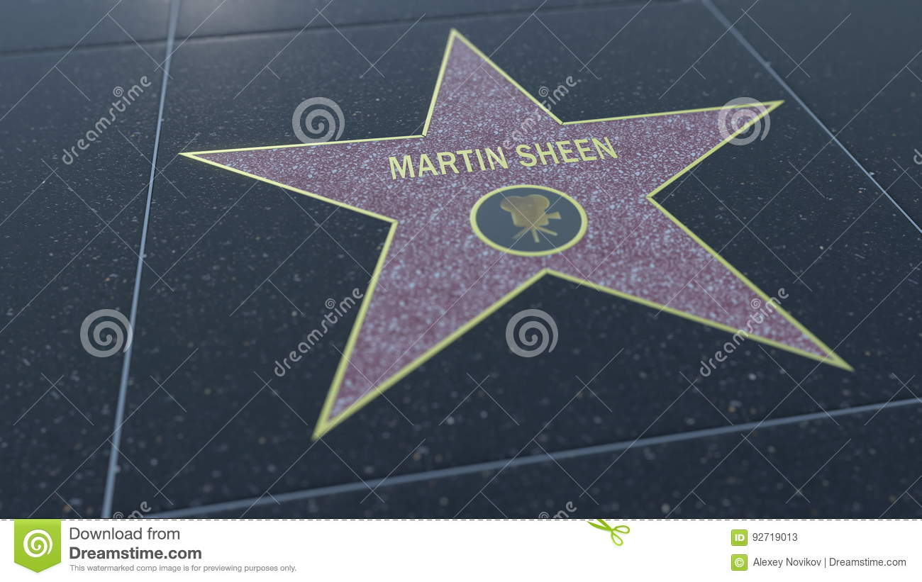 Hollywood Walk of Fame star with MARTIN SHEEN inscription. Editorial 3D rendering