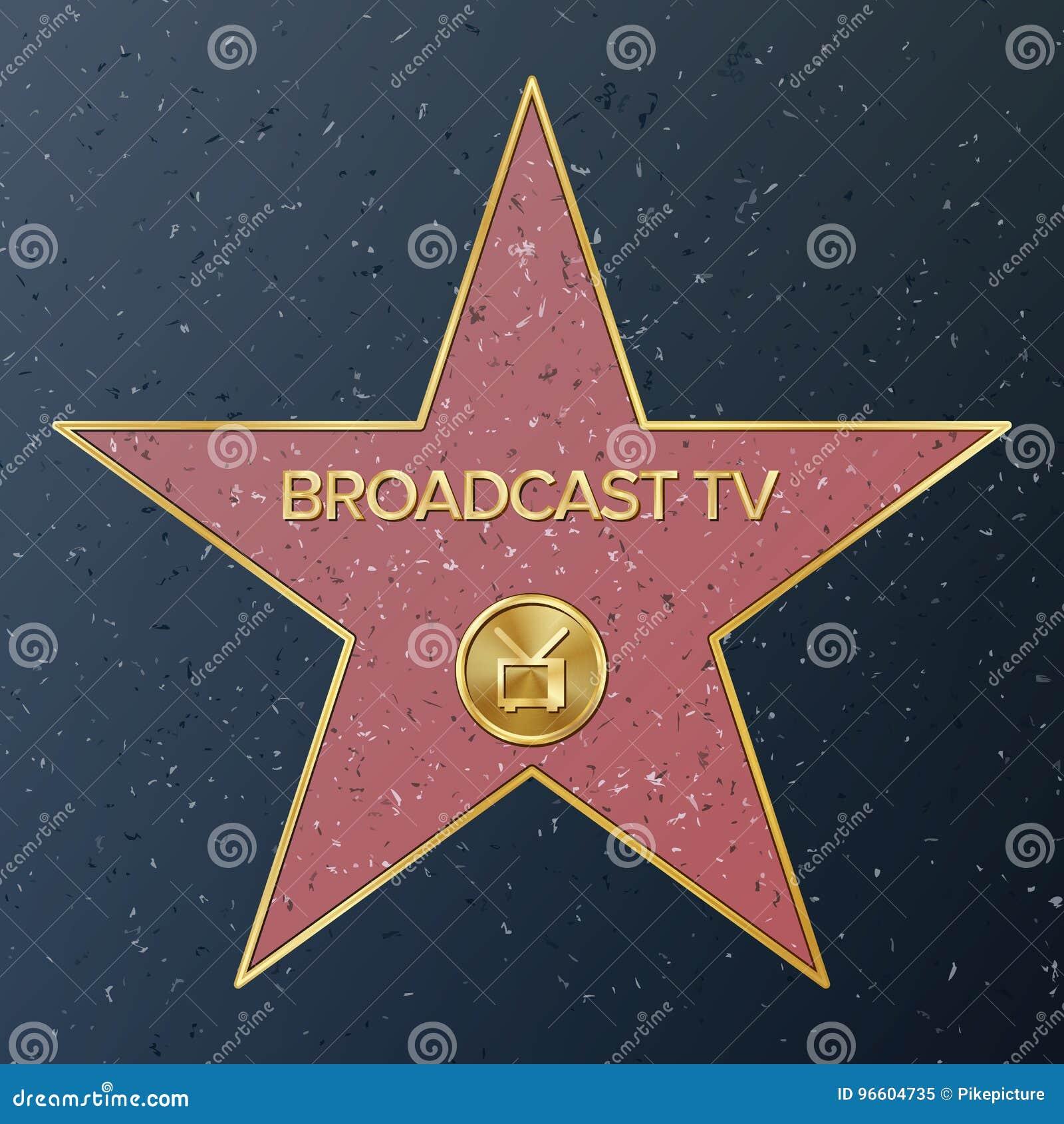 Hollywood Walk Of Fame. Vector Star Illustration. Famous Sidewalk Boulevard. Television Receiver Representing Broadcast