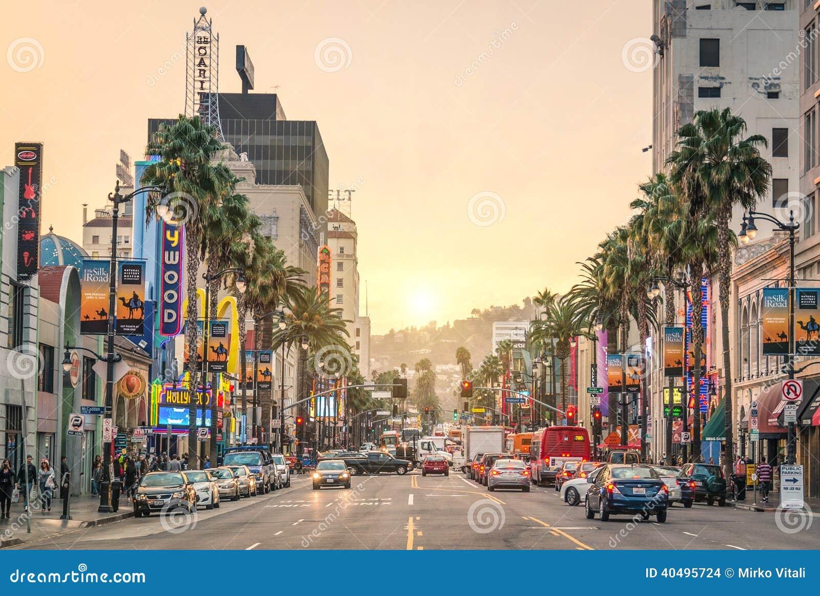 Hollywoodboulevard bij zonsondergang - Los Angeles - Gang van Bekendheid